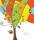 Autumn tree greeting card with leaves