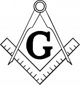 stock photo of freemason  - The Masonic Square and Compasses Symbol Represents Freemasonry - JPG