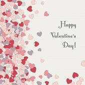 Postcard Vertical With Hearts For Valentine