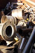 stock photo of ferrous metal  - A collection of Scrap metal ready for recycling