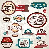Car Service Retro Emblem, Collection Of Vintage Vector Labels
