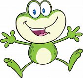 stock photo of cute frog  - Cute Green Frog Cartoon Mascot Character Jumping  Illustration Isolated on white - JPG