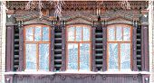 Three Old Wooden Curving Tradition Siberia Windows