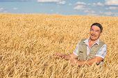 Happy smiling caucasian  old farmer