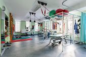 picture of radiation therapy  - Spatial hall rehabilitation with differents exercises machines - JPG