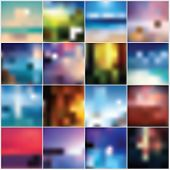 Collection of 12 blurred colorful abstract backgrounds, vector