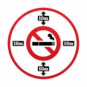 No smoking 10m distance sign. Stop smoking.
