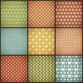 Vintage summer vector seamless patterns (with swath, tiling)