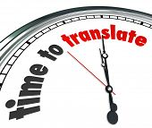 stock photo of summary  - Time to Translate Words Clock Language Interpret Message Meaning - JPG
