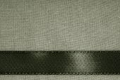 Dark Background Black Ribbon On Gray Cloth Texture