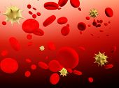 Virus infection. Viruses floating among erythrocytes