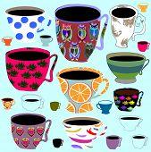 Set of various  retro porcelain tea cups, vector illustrations.