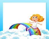 Illustration of an empty template with a girl at the bottom playing with the rainbow