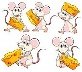 Illustration of a group of mice carrying slices of cheese on a white background
