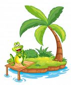Illustration of an island with a frog above the wooden bridge on a white background