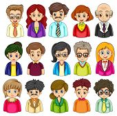 Illustration of a group of people on a white background
