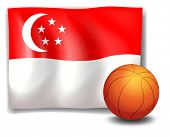Illustration of the flag of Singapore with a ball on a white background
