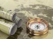 image of longitude  - Gold compass  on world map background - JPG
