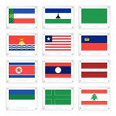 stock photo of libya  - National Flags of Khakassia Lesotho Libya Kiribati Liberia Liechtenstein North Korea Laos Latvia Komi Republic Ladonia and Lebanon on Metal Texture Plates with Screws - JPG