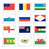 Twelve Countries Flags On Metal Texture Plates