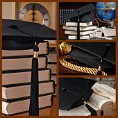Graduation collage includes still life images of black graduation cap in various compositions.  (dictionary is opened to and focused on the word 'graduation')