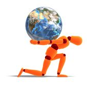 Orange / Red  Manikin Carries The World