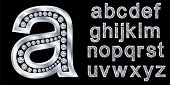 Silver alphabet with diamonds, letters from A to Z, vector illustration