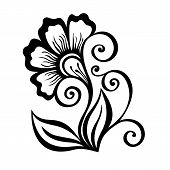 Decorative Flower with Leaves (Vector)