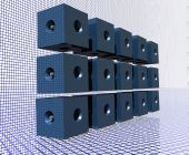 Blue Data Cubes with Wireframe