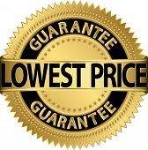 Lowest price guarantee golden label, vector illustration