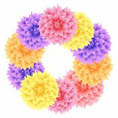 Vector Wreath Dahlia Flowers.