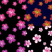 Outline Cherry Flowers Background In Dark Colours