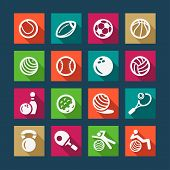 flat sports and fitnes icons set