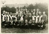 KURSK, USSR - CIRCA 1960:  An antique photo shows group  portrait of school graduates.