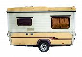 foto of caravan  - Isolation Of A Retro Grungy 70s Caravan - JPG