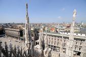 Milan Skyline, From The Roof Of The Cathedral,lombardy, Italy
