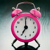 Pink Alarm Clock Close Up