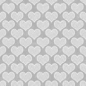 Gray And White Chevron Hearts Pattern Repeat Background