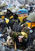 KIEV, UKRAINE - February 16, 2014: Ukrainian revolution, Euromaidan. Self-defense fighters Maidan on