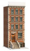 image of brownstone  - Brownstone apartment building on a white background - JPG