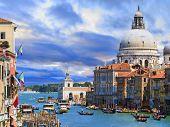 Venice, Italy -  Canal Grande with Basilica di Santa Maria della Salute