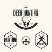 Set Of Vintage Hunting Labels And Badges