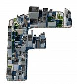 Urban F Letter From City Font Collection