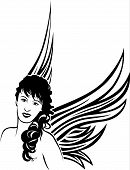 Girl Angel Tattoo Stencil For.eps