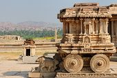 pic of chariot  - Vittalla temple in Hampi Chariot Karnataka India - JPG