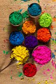stock photo of pigment  - Colorful finely powdered Indian pigments - JPG