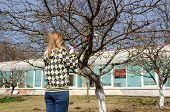 Woman Cut Fruit Tree Branch With Garden Secateur