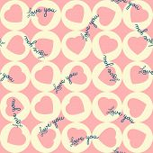 Pattern Of Pink Hearts In The Yellow Circles