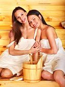 picture of sauna  - Young woman in sauna - JPG