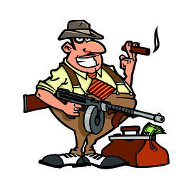 pic of tommy-gun  - Funny retro gangster with Thompson machine gun and money bag - JPG